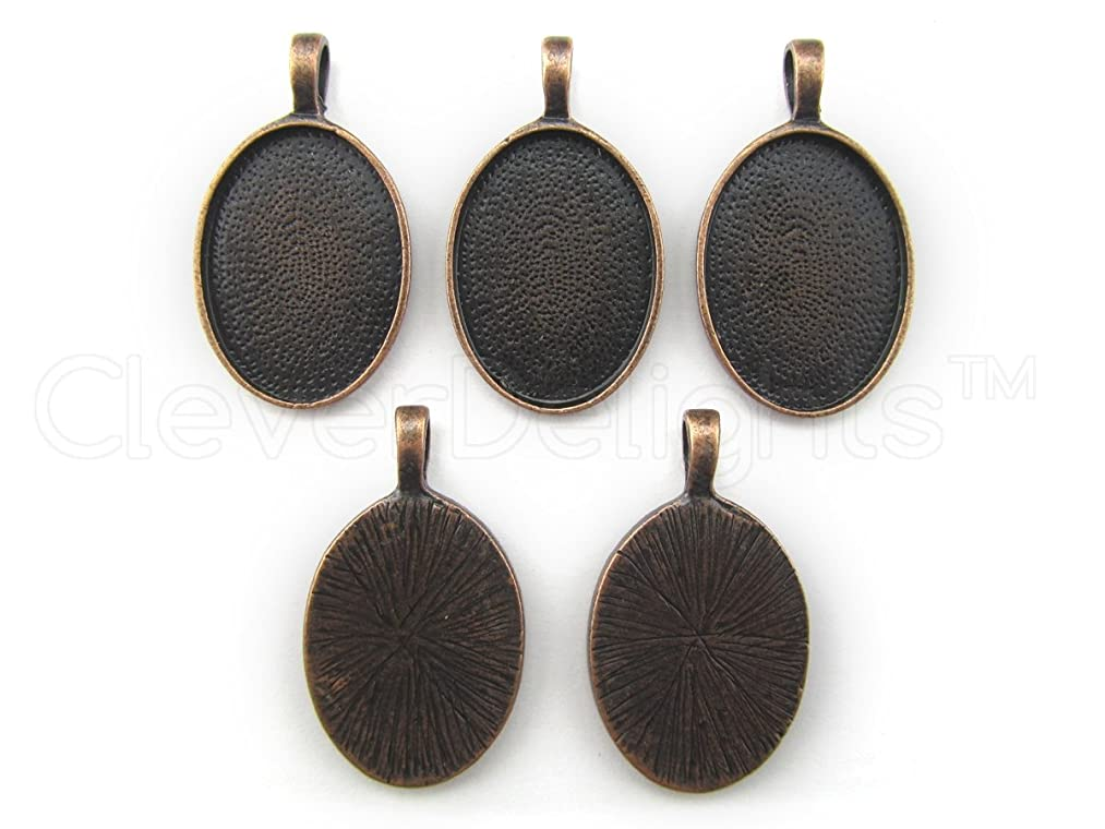 CleverDelights 20 Oval Pendant Trays - Antique Copper Color - 18 x 25 mm - Pendant Blanks Cameo Bezel Cabochon Settings - 11/16
