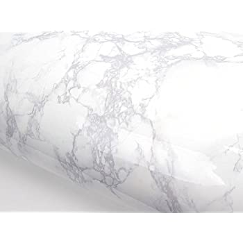 Peel and Stick PVC Instant Marble Decorative Self-Adhesive Film Countertop Backsplash Napoleon Marble (PGS408 2.00 feet X 6.56 feet)