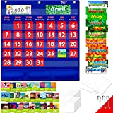 "Calendar and Weather Pocket Chart with 104 Cards,(72 Illustrated Activity Cards, 32 Dry Erasable Flash Cards and 3 Hooks 20"" X 22"")"