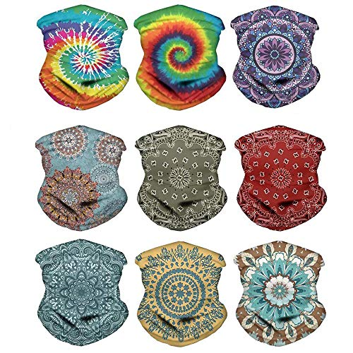 Buybai Seamless Bandana Neck Gaiter Bandana Headwear Face Scarf Helmet Liner for Women Girl for Tie Dye/Boho Mandala/9pcs/Set
