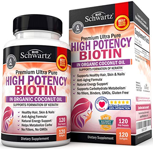 High Potency Biotin 10000mcg Supplement with Organic Coconut Oil - for Hair Growth, Skin & Nail Support - Promotes Keratin Formation & Hydration - Anti-Aging, Metabolism & Natural Energy Support