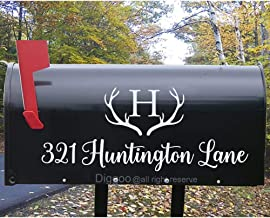 Set of 2 Custom Mailbox Decal Family Name Initial Decal with Hunting Antlers Decal Vinyl Mailbox Lettering (7