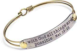 Sweet Romance - Inspirational Bracelet - with God All Things are Possible Mat 19:26 - Bible Message Bracelet - Motivation - Gift for Women, Teens, Girls - Leather Message Bracelet or Bangle