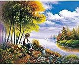 ZXlDXF Pintura por números DIY Adultos Principiante Lienzo Pintura al óleo Kits de Pintura Artesanía para Decoración Paisaje Niño Pesca 16x20 pulgadas