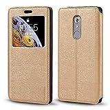ZTE Axon 7 Mini Case, Wood Grain Leather Case with Card