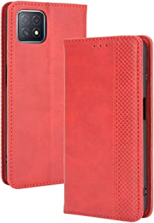 Case for OPPO A73 5G,Retro Flip Wallet Phone Case and Magnetic Closure Suitable for OPPO A73 5G-Red