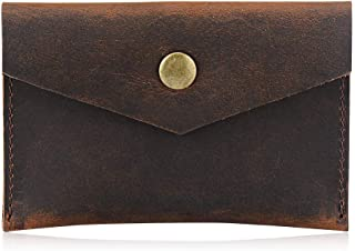 Bird&Fish Business Card Holder 100 Percent Genuine Leather,Handmade Vintage Front Pocket Minimalist Wallet for Men Women