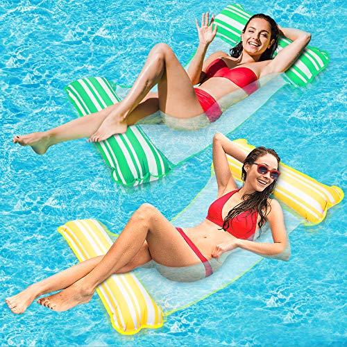 lenbest 2 Pack Amaca Gonfiabile, Amaca di Acqua Galleggiante Gonfiabile Pieghevole Letto Lounge Materassino Sedia Sdraio da Mare Piscina Spiaggia Giardino per Adulti Bambini (Giallo & Verde)