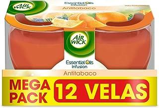Air Wick AntiTabaco Velas aromáticas perfumadas antiolores, ambientador esencia para casa con aroma afrutado - Megapack 12 unidades