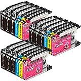Kingjet LC1280XL - Cartuchos de tinta de repuesto para Brother LC1240XL LC1280XL para Brother MFC-J280W J425W J430W J435W J5910DW J625DW J6510DW J6710DW DCP-J525W J725DW J925DW (paquete de 18)
