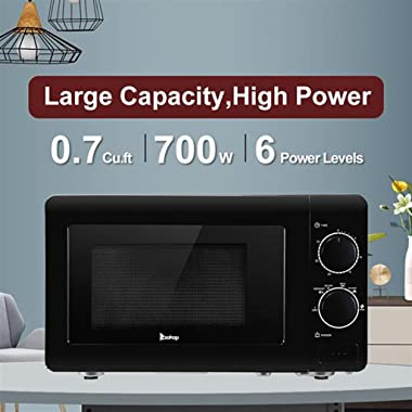 0.7 Cu.ft Compact 700 Watts 6 Power Settings, Glass Turntable, Stainless Steel Small Countertop Microwave, Black
