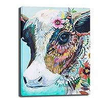 近代的なキャンバスを描く花牛の頭の油は、家庭子供の部屋のインテリアのギフト用のframlessをキャンバス上の未経産牛動物ポスター壁アート画像プリントを印刷します,40×60cm