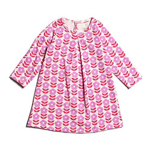Winter Water Factory Long Sleeve Organic Aspen Baby Girls Dress, Lavender & Pink Danish Flowers, 3 Months