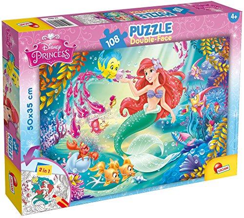 Lisciani Puzzle para niños de 108 piezas 2 en 1, Doble Cara con reverso para colorear - Disney La Sirenita 48069