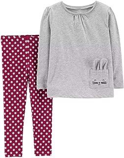 2-Piece Jersey Top & Polka Dot Legging Set, 5T, Heather/Burgundy