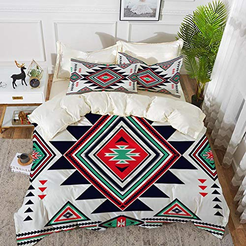 Duvet Cover Set, Bed Sheets, Blue Triangle Navajo Aztec Big Pattern Colorful Geometric Native American Mayan,Microfibre Duvet Cover Set 135 x 200 cmwith 2 Pillowcase 50 X 80cm
