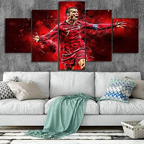 Stampa su tela Cristiano Ronaldo Calcio-100x55 CM Quadro camera da letto Canvas Arredamento Arte Astratto XXL Arredo per Soggiorno Salotto Camera da Letto Cucina Ufficio Bar
