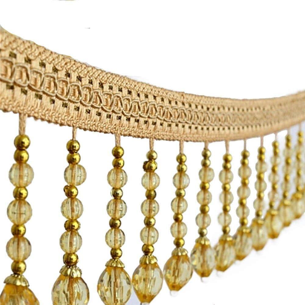 Yalulu 4 Time sale Yards Braided Hanging Beads Very popular Fringe R Fabric Tassel Trim