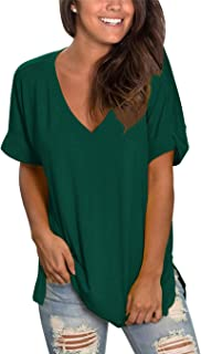Topstype Womens Summer Short Sleeve T Shirts V Neck Tunic Roll Up Tops Cute Tees Loose Fitted Henley Workout Shirts