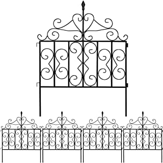 Best Amagabeli Decorative Garden Fence 32in x 10ft Black Metal Landscape Wire Folding Fencing Patio Wire Border for Raised Flower Bed Dog Barrier Rustproof Tall Garden Edge Section Décor Picket Panels FC03 Review