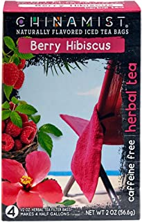 China Mist - Naturally Flavored Berry Hibiscus Herbal Iced Tea Bags - Each Tea Bag Yields 1/2 Gallon