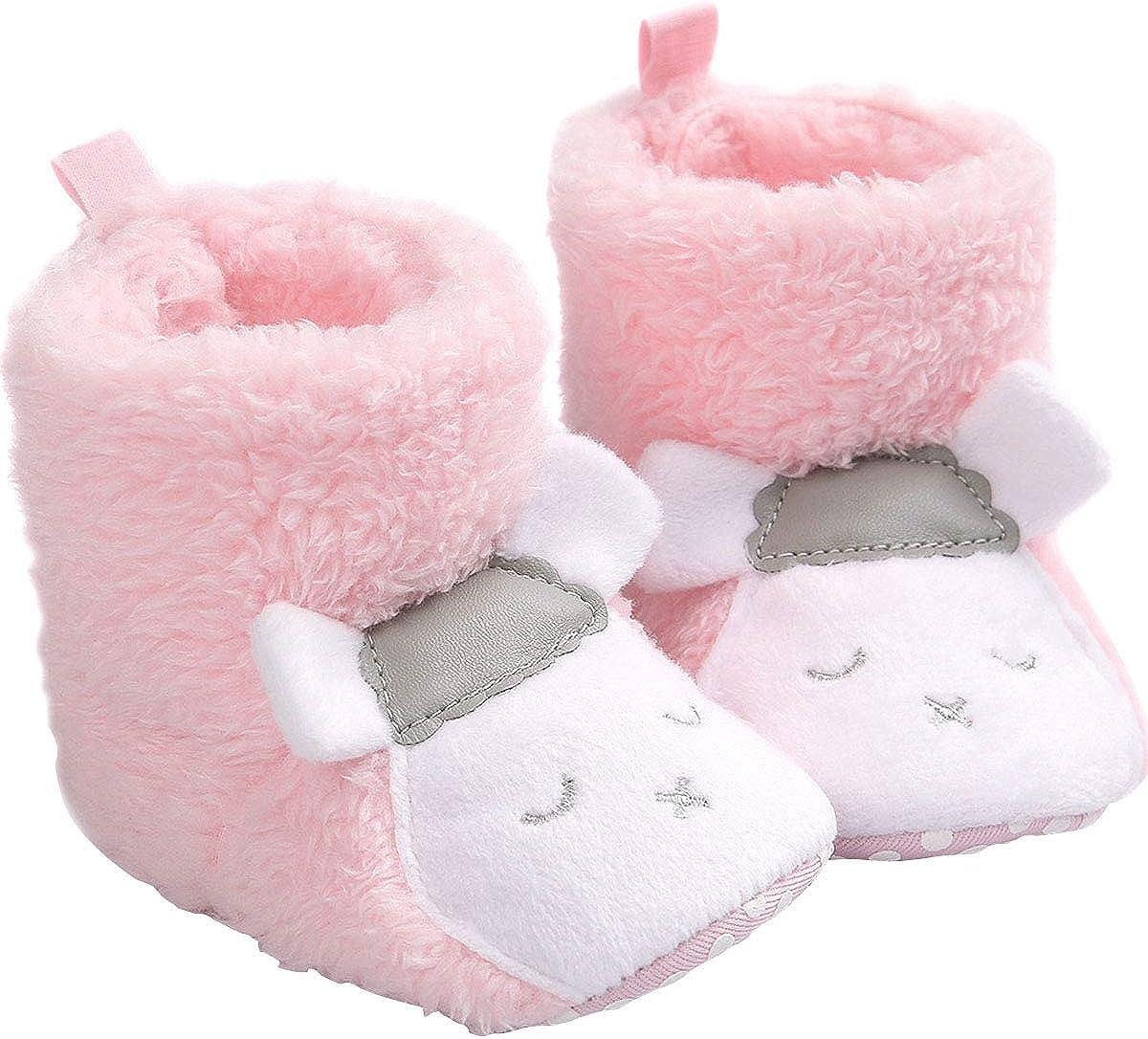 vanberfia Unisex Baby Soft Great interest Sole Spasm price Fleece Knit Snow Boots Fur Infan