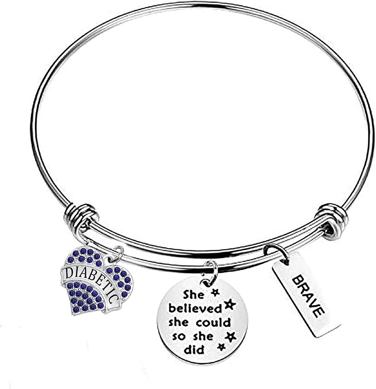 BAUNA Diabetes Awareness Bracelet She Believe She Could So She Did Inspiration Encouragement Gifts Blue Ribbon Diabetes Gift Survivor Jewelry