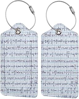 Multi-patterned luggage tag Blue Decor School Decor Science Theme Hand Written Physics Formula Lesson Notes Illustration Double-sided printing Blue W2.7