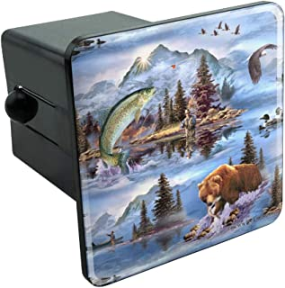 Graphics and More Mountain Fly Fishing Bear Stream Lake Fish Tow Trailer Hitch Cover Plug Insert