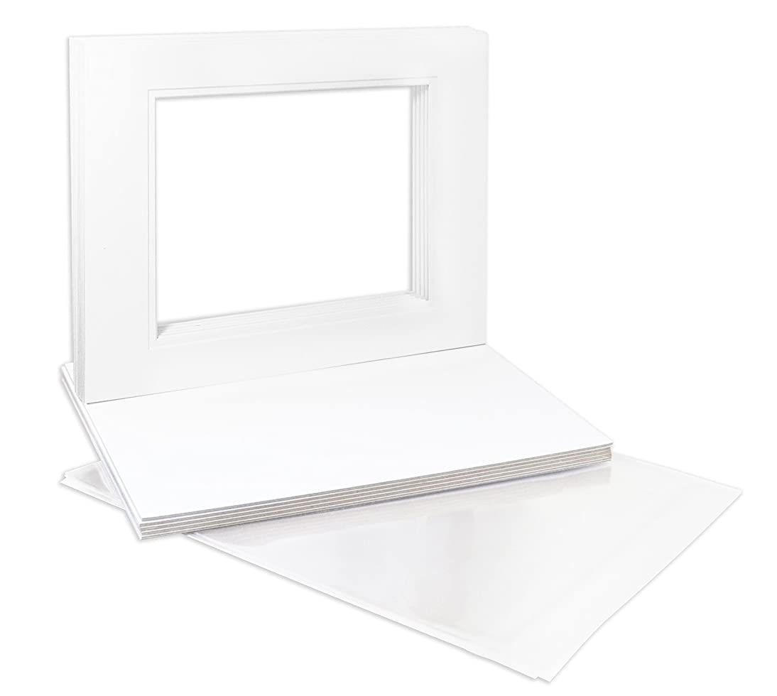 Golden State Art, Pack of 10 11X14 Double Picture Mats with White Core Bevel Cut for 8X10 Pictures + Backing + Bags, White Over White