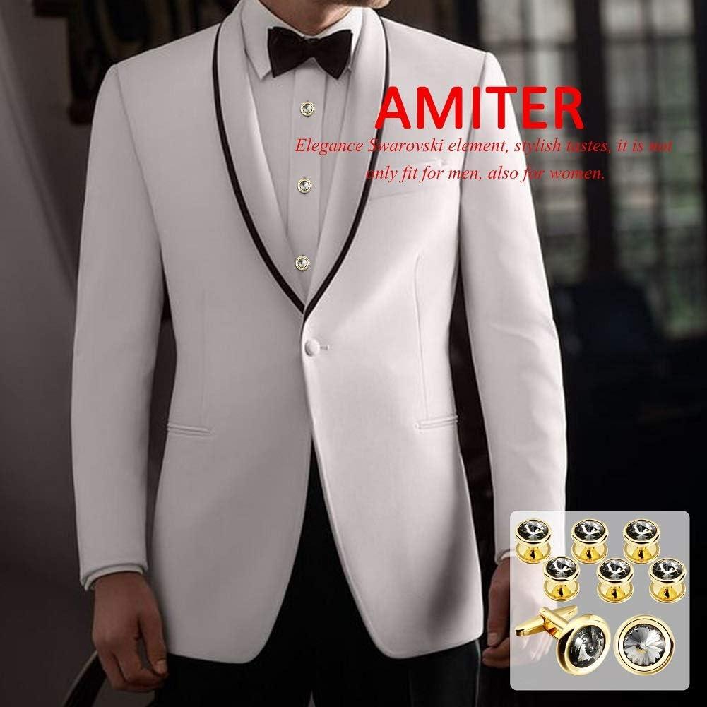 AMITER Swarovski Crystal Cufflinks and Tuxedo Studs Sets for Men - Eelegence Dress Sets for Weddling Party