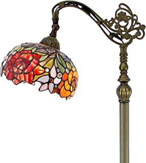Tiffany Style Reading Floor Lamp Stained Glass with Double Rose Lampshade in 64 Inch Tall Antique Arched Base for Girlfriend Bedroom Living Room Lighting Table Set S001 WERFACTORY