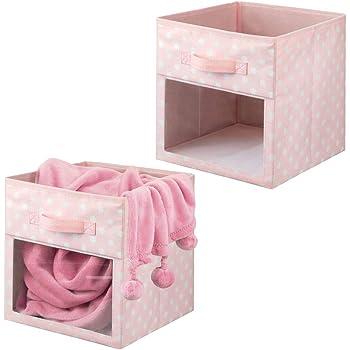 mDesign Juego de 2 cajas organizadoras de tela – Organizador de armario para ropa de bebé, mantas, etc. – Caja de almacenaje de lunares con asa y ventanilla – rosa/lunares blancos: Amazon.es: Hogar