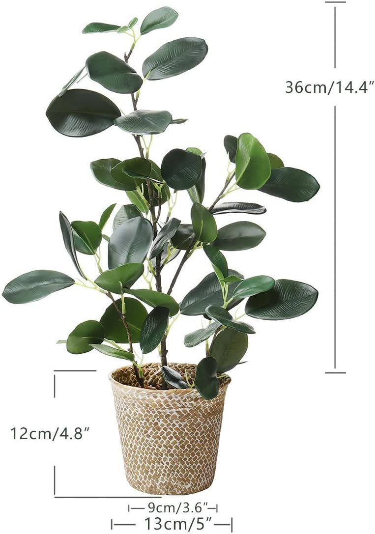 Green, 1 SAROSORA Artificial Ficus Tree Fake Plants in Weaved Pot for Living Room Decor Indoor Home Office Ins Style 20 Height