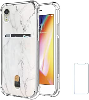 Oddss Case Compatible for iPhone XR with Card Holder Slot White Marble Design Ultra-Slim Thin Soft TPU Clear Cover Compatible for iPhone XR (6.1