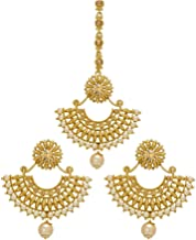 Bindhani Women's Indian Style Maang Tika Headpiece Bollywood Jewellery Bridal Hair Accessories Bridesmaid Wedding Traditional Bahubali Gold Plated Chandbali Kundan Earrings Mang Tikka Jewelry