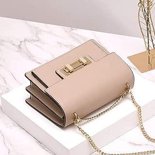 ZXK New Chain Bag Messenger Bag Leather Lock Small Square Bag Leather Handbag Fashion (Color : Brown)