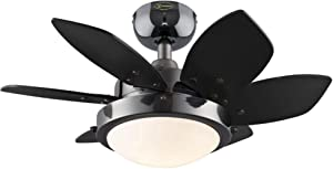 Westinghouse Lighting 7224300 Quince Two-Light 24-Inch Reversible Six-Blade Indoor Ceiling Fan, Gun Metal with Opal Frosted Glass
