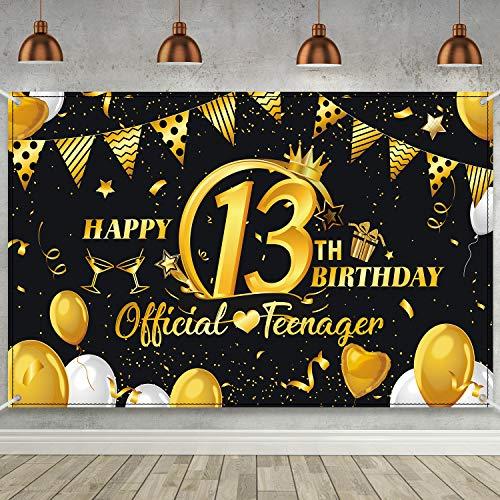 Decoracion de Fiesta de Oro Negro de 13 Cumpleaños, Cartel de Letrero de Tela Extra Grande Suministros de Fiesta de Feliz 13 Cumpleaños, Fondo de Fotomatón Bandera de Telón de Fondo de 13 Aniversario