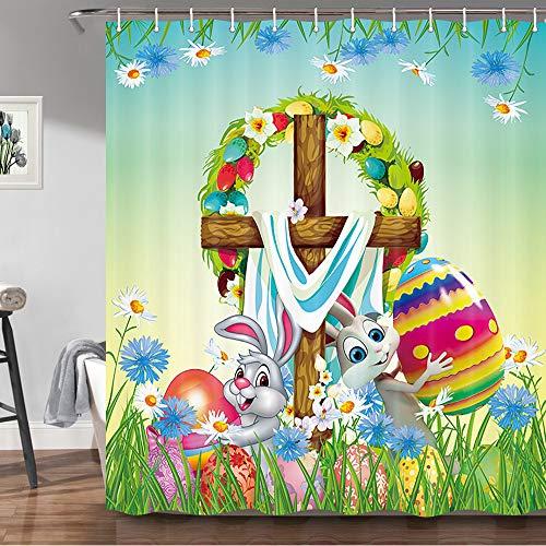 JAWO Oster-Duschvorhang, süßes Kaninchen, bunte Ostereier, Frühlingsblumen, grünes Gras, dekorative Badezimmervorhänge, Stoffstoff, Badvorhang mit Haken, Set, 170 x 178 cm