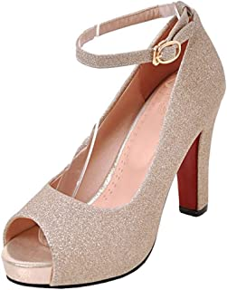 e647789539e6f Mofri Women s Elegant Buckle Glitter Sequins Peep Toe Ankle Strap Platform  High Chunky Heel Pumps Sandals