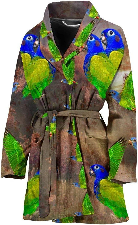 bluee Headed Parred Art Print Women's Bath Robe