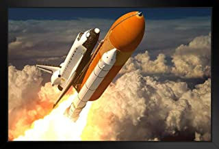 Space Shuttle Launch Blasting Through Clouds Rendering Photo Black Wood Framed Art Poster 20x14
