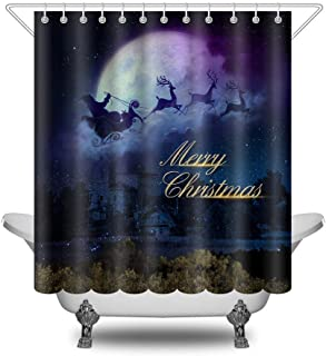 Christmas Shower Curtains, Merry Christmas Dreamy the Night Santa Claus Reindeer Sleigh and Moon, Winter Waterproof Polyester Fabric Shower Curtain Sets, Bathroom Decoration Bathtub Curtain with Hooks