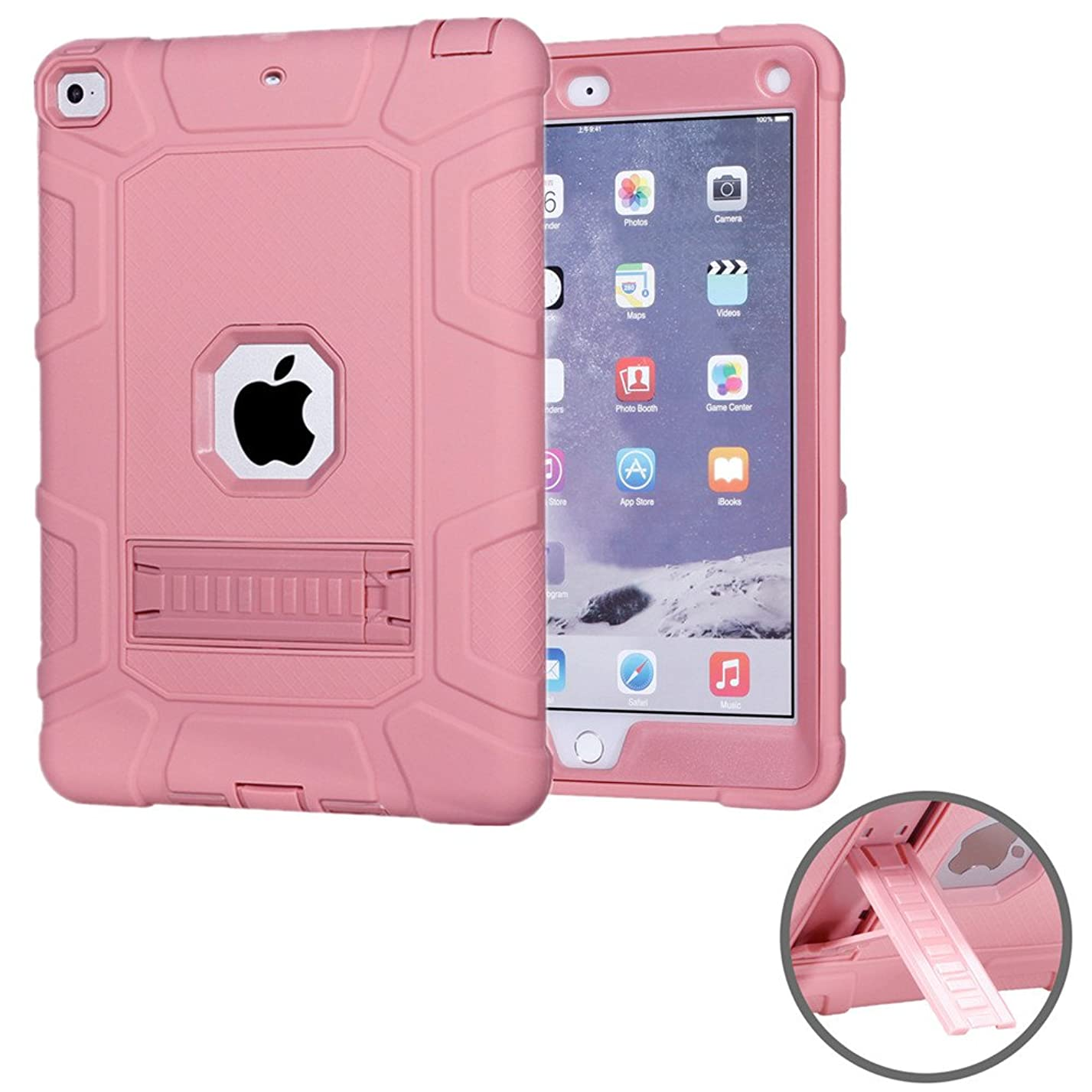 New iPad 9.7 2018/2017 Case - KAMII [Heavy Duty] Triple-layer Protection Shockproof Hard PC Soft Silicone Hybrid Impact Defender Case Cover with Kickstand for Apple New iPad 9.7 Inch (Rose Gold) nt60506047