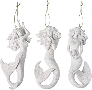 Mermaid Ornaments | Beach House Bathroom Laundry Home Decor Wall Art | Set of 3 | 6 x 2.5 Inch