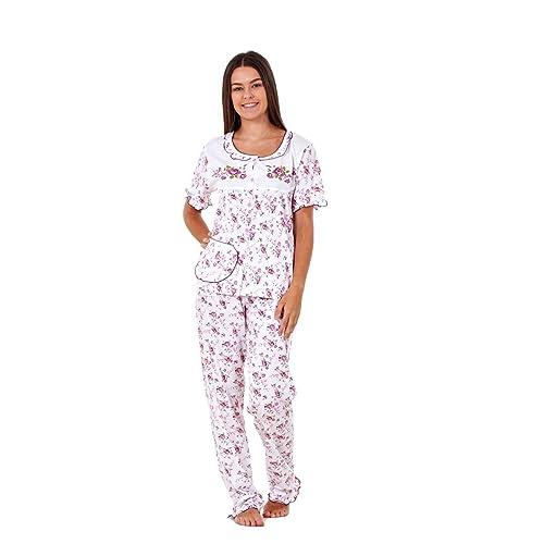fd2e29a8f8 Ladies Women Pyjama Sets Floral Cotton Short Sleeve Button Nightwear Soft  PJ s
