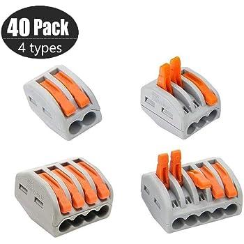 Connecteur /à Ecrou /à levier Connecteurs de fil Compacts Rapide Teur Electrique Connecteur Cable Electrique 2 Port 3 Port 5 Port 60 pcs Bornes de Connexion Automatique