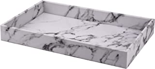 Decor Trends Faux Marble Leather Bath Bathroom Long Vanity Decorative Tray Display Tray Organizer for Perfume Dresser Cosmetics Nightstand