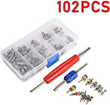 102Pcs Air Conditioning Valve Core Accessories A/C R12 R134a Refrigeration Tire Valve Stem Cores Remover Tool Assortment Kit